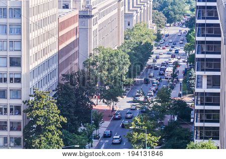 Washington DC USA - July 24 2013: Aerial view of Pennsylvania avenue street in downtown with traffic and people by national mall