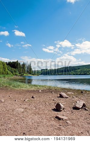 Summertime lake in the Brecon beacons of Wales.