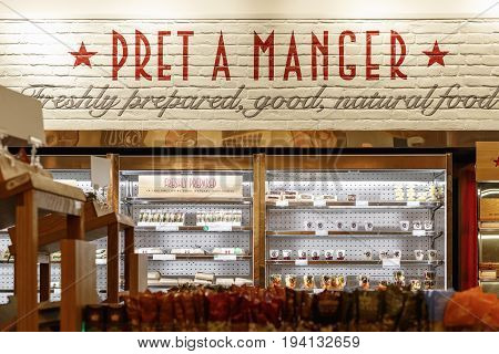Cold Food Displayed On Multideck Fridges In Pret A Manger