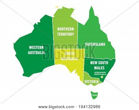 Simplified map of Australia divided into states and territories. Green flat map with white borders and white labels. Vector illustration.