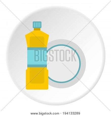 Bottle for dishwashing icon in flat circle isolated vector illustration for web