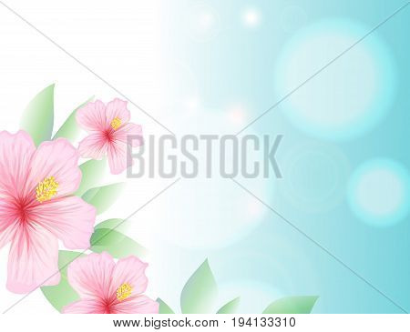 Spring and light blue sky, hibiscus summer-blooming tropical, hawai flowers, delicious and refreshing card with copy space for elegant motivation poster. Vector illustration
