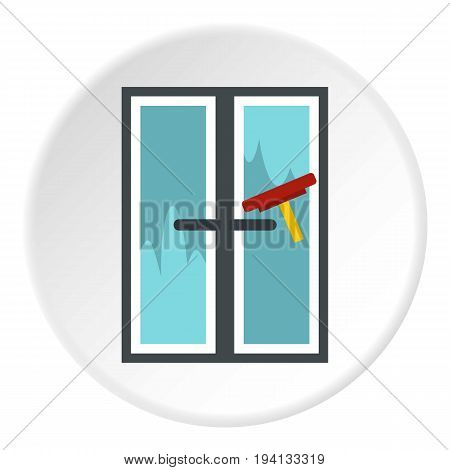 Brush washes a window icon in flat circle isolated vector illustration for web