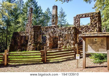 Glen Ellen USA - March 12 2014: Jack London State Historic Park with house in Napa Valley California made of stone