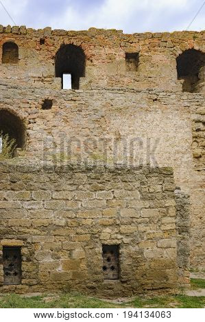 Walls of Fortress Akkerman in Bilhorod-Dnistrovskyi, Ukraine. This Fortress is located on the right bank of the Dniester Liman dates from the 13th century and is a prime example of medieval fortress.