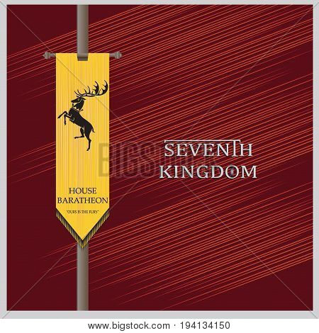 Yellow standard with the deer. The red background. The elements of heraldry. Decals, emblems. Vector image.