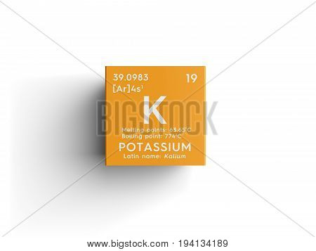 Potassium. Kalium. Alkali metals. Chemical Element of Mendeleev's Periodic Table. Potassium in square cube creative concept.