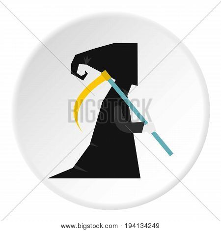 Death with scythe icon in flat circle isolated vector illustration for web