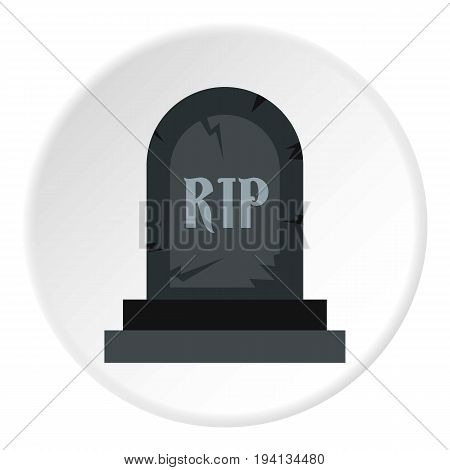 Grave RIP icon in flat circle isolated vector illustration for web