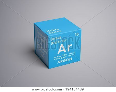 Argon. Noble gases. Chemical Element of Mendeleev's Periodic Table. Argon in square cube creative concept.