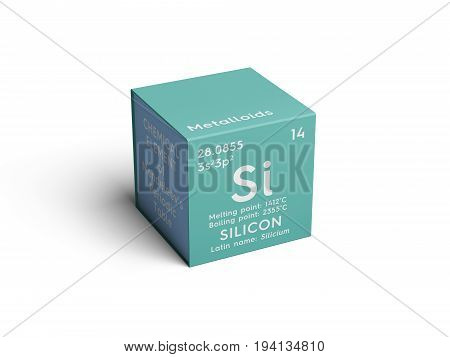 Silicon. Silicium. Metalloids. Chemical Element of Mendeleev's Periodic Table. Silicon in square cube creative concept.