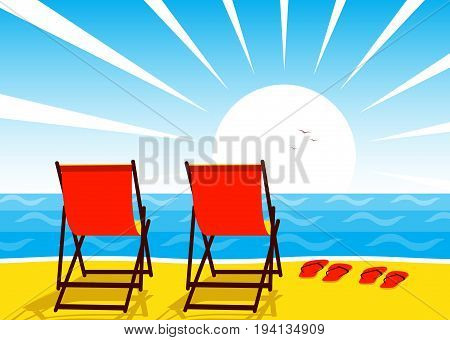 vector deck chairs and flip flops on the beach