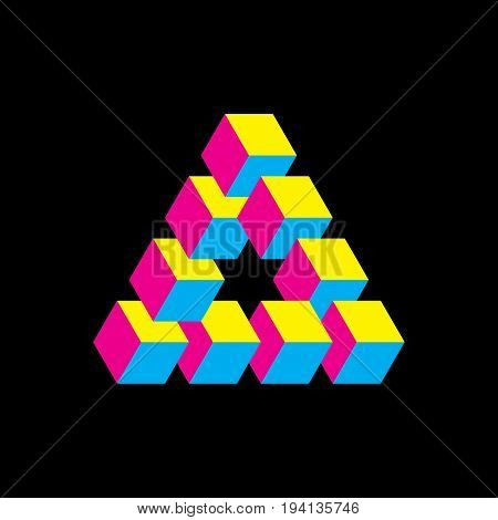 Impossible triangle in CMYK colors. Cubes arranged as geometric optical illusion. Reutersvard traingle. Vectori illustration.