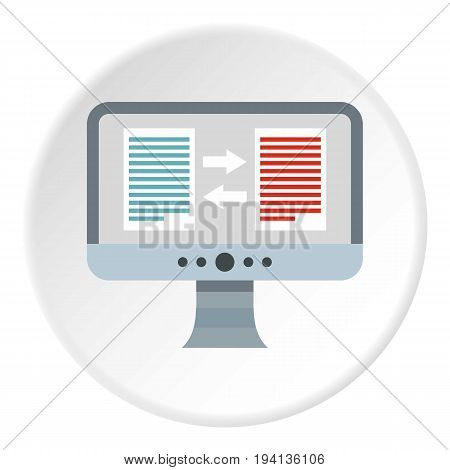Translation of text on computer icon in flat circle isolated vector illustration for web