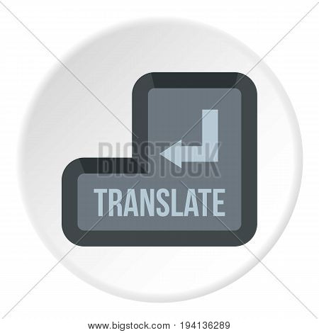 Translate button icon in flat circle isolated vector illustration for web
