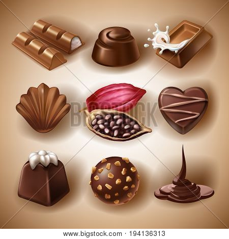 Set of vector icons of chocolate desserts and candies, liquid chocolate and cocoa beans in a realistic style. Print, template, design element for packaging and advertising, stickers