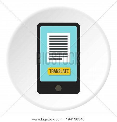 Translator on phone icon in flat circle isolated vector illustration for web