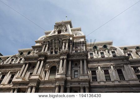 Top of City Hall in downtown Philadelphia, Pennsylvania, USA