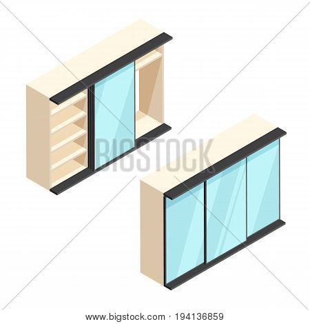 Isometric built-in wardrobe with mirrors illustration. Closed and open closet. 3d vector furniture icons