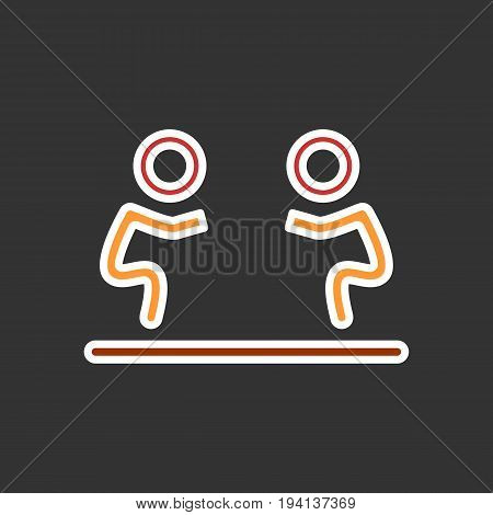 Fight icon isolated. Human silhouettes fighting on black background. Flat signEps 10