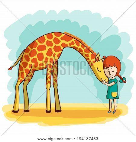 Girl and giraffe. Girl hugging a giraffe. Vector illustration of hand-drawn.