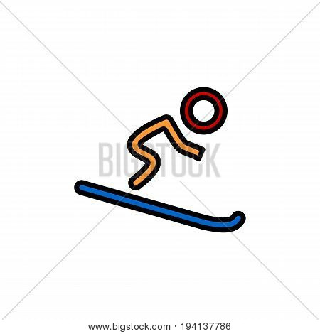 Silhouette of single mountain skier isolated on a white background. Vector flat illustration. Eps 10