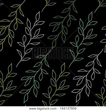 Black seamless pattern with branches. White and green outlines of branches with leaves on a black background.