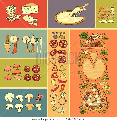 Pizza icon. Set of cute various pizza ingredient  icons. Vector illustration. Colorful vegetable, seafood and tools for pizza.