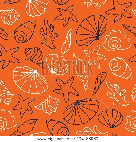 Contour drawings of shells. Starfish, corals and shells hand-painted on an orange background. Seamless vector pattern.