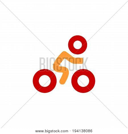 Cyclist icon. Simple flat logo of cyclist on white background. Silhouette of a cyclist. Vector flat illustration. Eps 10