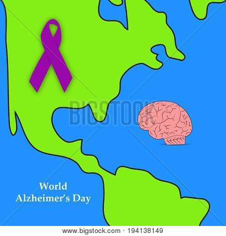 illustration of earth and Ribbon with World Alzheimer's Day text