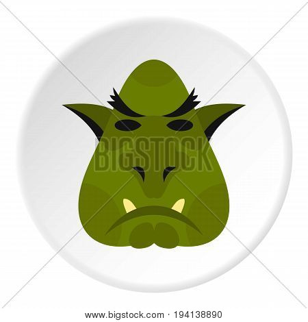 Head of troll icon in flat circle isolated vector illustration for web