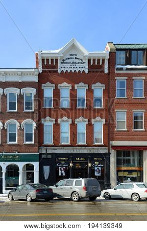 CONCORD, NH, USA - FEB. 24, 2015: Historic Morrill Brothers Building on Main Street in downtown Concord, New Hampshire, USA.