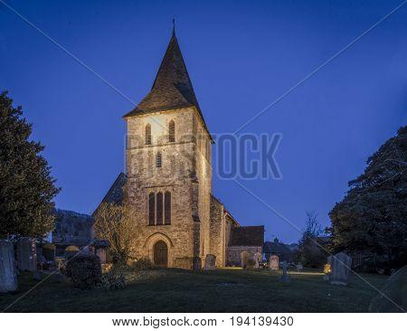 Saint Martin of Tours Church at night in the village of Detling Kent UK