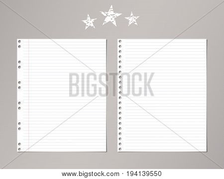 White ruled, striped notebook, copybook paper sheets and stars on gray background