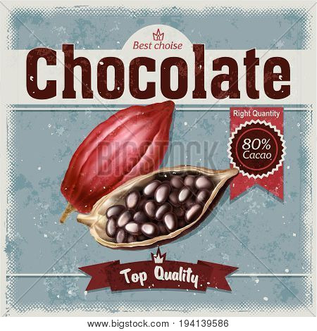 Vector retro illustration of cocoa beans, fruit of chocolate tree on grunge background. Template, a design element for packaging and advertising chocolate products.