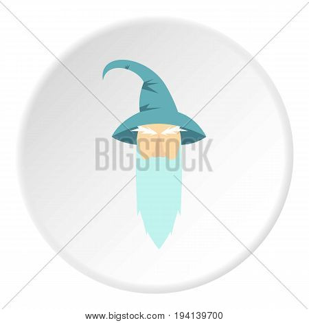 Wizard icon in flat circle isolated vector illustration for web