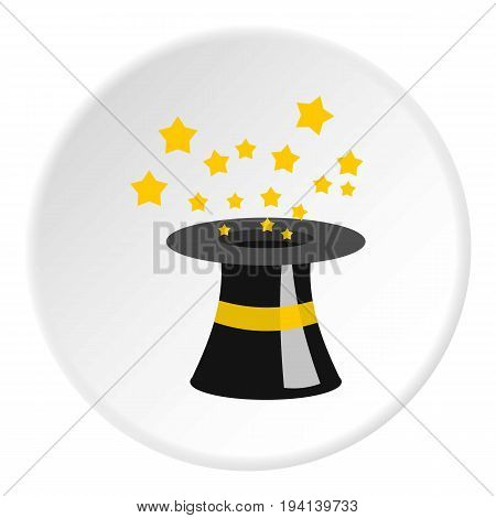 Magician hat icon in flat circle isolated vector illustration for web