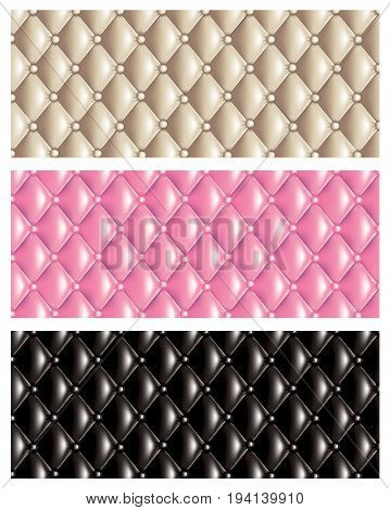 Set of vector quilt texture banners isolated on white