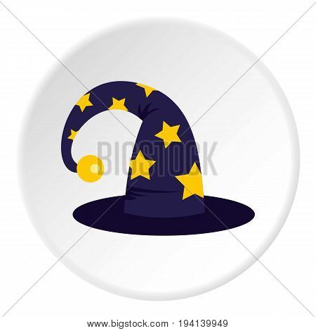 Wizard hat icon in flat circle isolated vector illustration for web