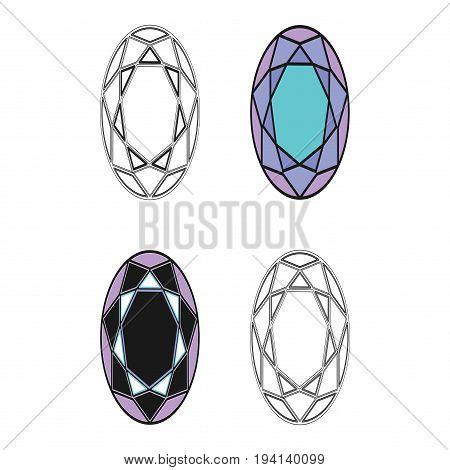 Diamond set icon. Vector Illustration. Shiny crystal sign. Brilliant stone. Black stroke isolated on white background. Fashion modern design. Flat element. Symbol gift jewel gem or royal rich.