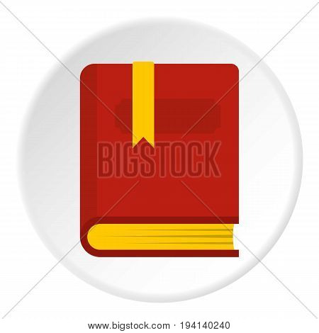 Thick book with bookmark icon in flat circle isolated vector illustration for web
