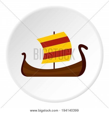 Medieval boat icon in flat circle isolated vector illustration for web