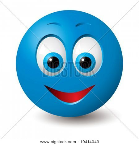 Vector: Happy blue smiley face (CMYK colors used)