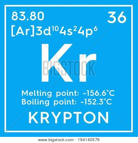 Krypton. Noble gases. Chemical Element of Mendeleev's Periodic Table. Krypton in square cube creative concept.