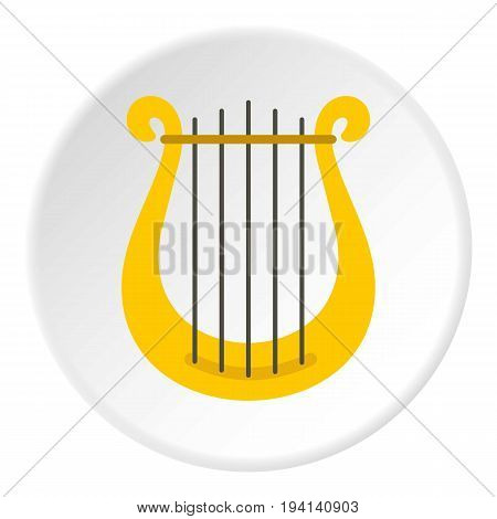 Harp icon in flat circle isolated vector illustration for web