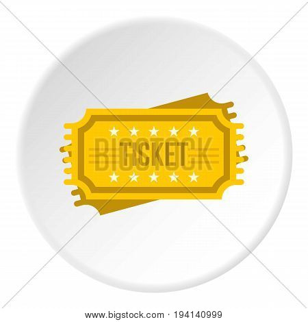 Ticket icon in flat circle isolated vector illustration for web