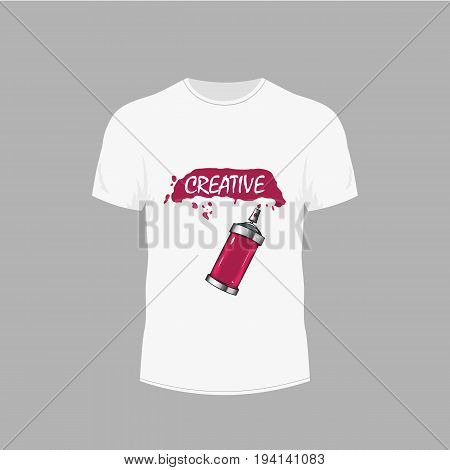 T-shirt design. Creative image. Men's white t-shirt with short sleeve in front views. Vector illustration
