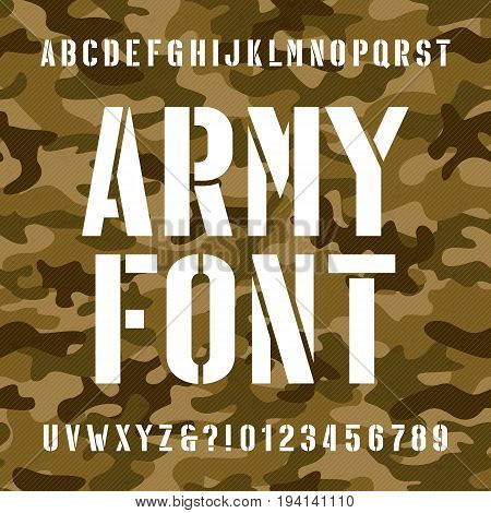 Army stencil alphabet font. Type letters and numbers on distressed camo seamless  background. Vector typography for your design.