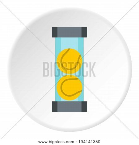 Packaging of tennis balls icon in flat circle isolated vector illustration for web